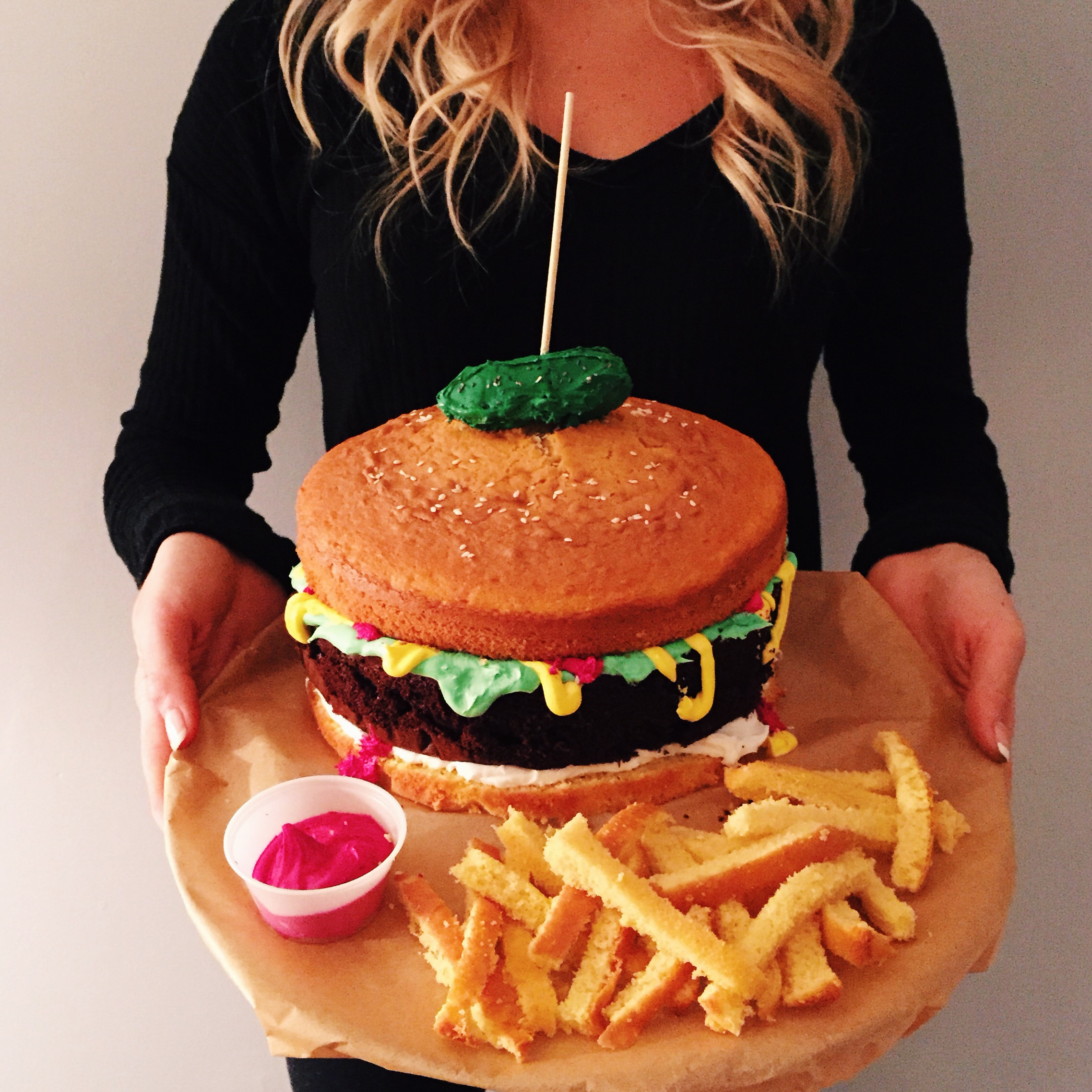 ... Birthday Burger cake I made for my best friends 23rd birthday today