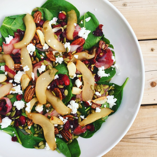roasted pear and goat cheese salad.JPG